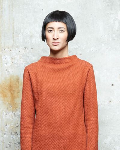 STAND UP COLLAR MERINO PULLOVER (HERRINGBONE STRUCTURE KNIT) – image 1