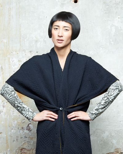 MERINO CAPE (ABSTRACT HERRINGBONE KNIT) – image 2