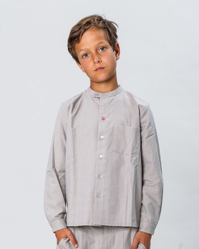 BAND-COLLAR SHIRT (LINETTE WOVEN FABRIC) – image 1
