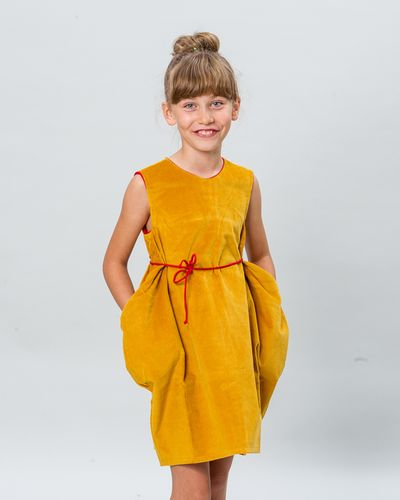 CROSSOVER BELT DRESS CORDUROY – image 1
