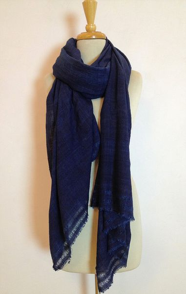 INDIGO BLUE - Ahimsa Khadi Silk Shawl - natural dyed