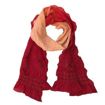 Rouge Rose Bandhani silk scarf Tie & Dye