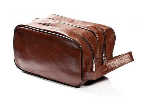 Cosmetic bag genuine brown leather, with double pocket