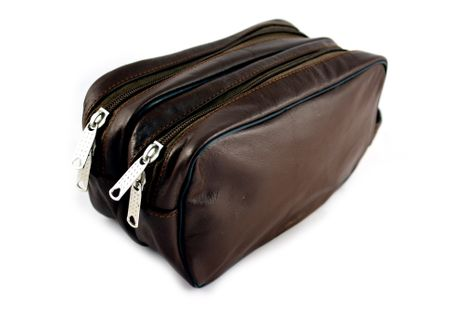 Cosmetic bag genuine dark brown leather, with double pocket – Bild 3
