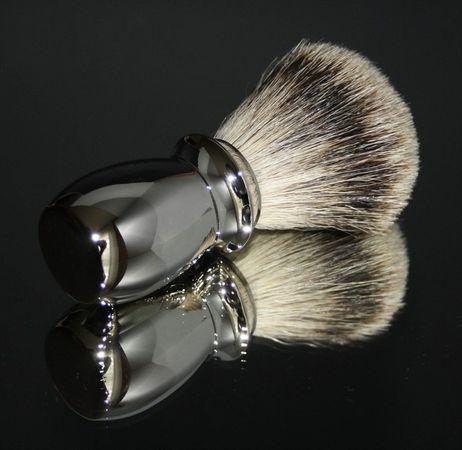 Rasierpinsel Metall glänzend, Silberspitz – Bild 4