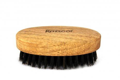 RAZZOOR Medium oval beard brush with boar bristles Walnut  - 9cm long 5cm wide – Bild 1
