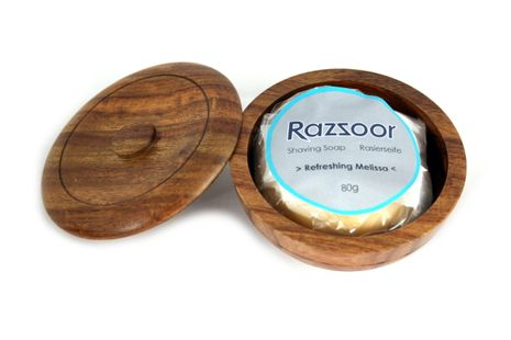 RAZZOOR shaving cream balm in the wooden bowl with lid, 80g for fine-pored lather – Bild 3