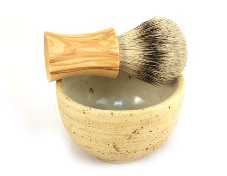 RAZZOOR Rasierpinsel Set Silberspitz Natur-Olive mit Keramikschale Natur – Bild 4