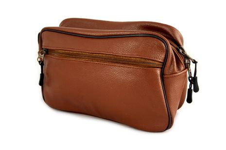 Bilson Cosmetic Bag Genuine Brown Grained Leather - Multifunctional Water Resistant Travel Toiletry Bag For Men or Women – Bild 1