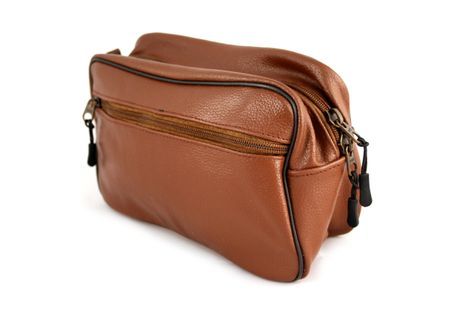 Bilson Cosmetic Bag Genuine Brown Grained Leather - Multifunctional Water Resistant Travel Toiletry Bag For Men or Women – Bild 3