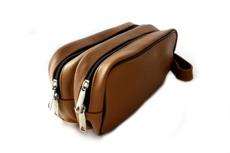 Cosmetic bag genuine cognac-brown leather, with double pocket – Bild 3