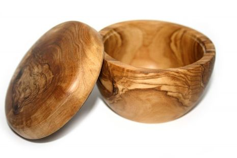Olive Wood Bowl for Shaving Soap with lid – Bild 1