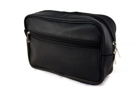 Bilson Cosmetic Bag Genuine Black Grained Leather - Multifunctional Water Resistant Travel Toiletry Bag For Men or Women – Bild 1