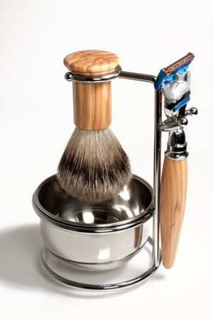 Shaving Set RAZZOOR Olive Wood for Gillette FUSION