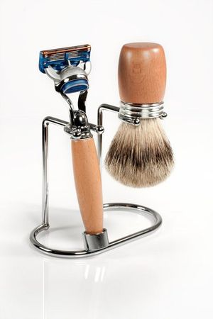 Shaving set made beechwood with SILVER TIP for Gillette FUSION – Bild 1