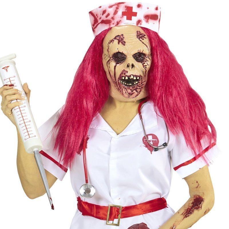 Halbmaske Zombie Krankenschwester Maske Mit Haare Halloween