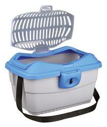 Trixie, Transportbox Mini-Capri, 40 × 22 × 30 cm, hellgrau/blau – Bild 1