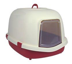 Trixie, Katzentoilette Primo XL Top mit Haube/Tür/Griff, 56 × 47 × 71 cm, bordeaux/creme