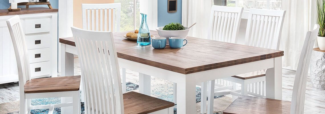 Esstisch mit Stühlen weiß und braun