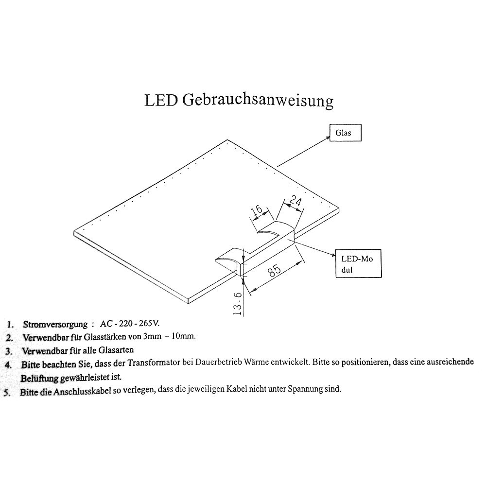LED Glaskantenbeleuchtung Blau (4er Set)