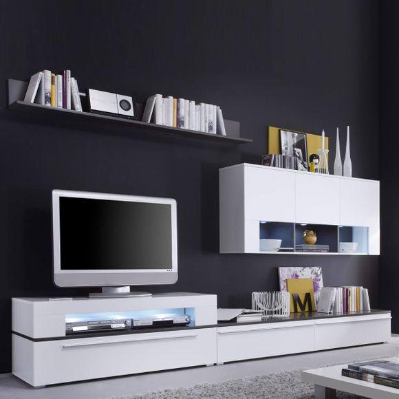 wohnwand schrankwand anbauwand mit led beleuchtung modern wei aurich. Black Bedroom Furniture Sets. Home Design Ideas
