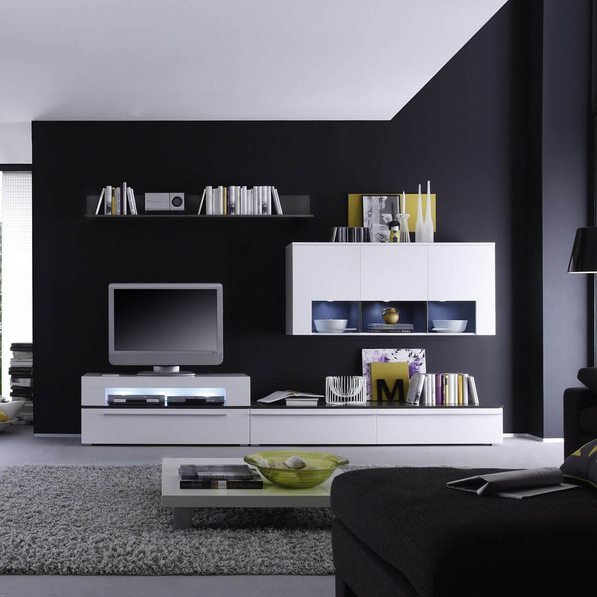 wohnwand ricky in wei anthrazit inkl beleuchtung. Black Bedroom Furniture Sets. Home Design Ideas