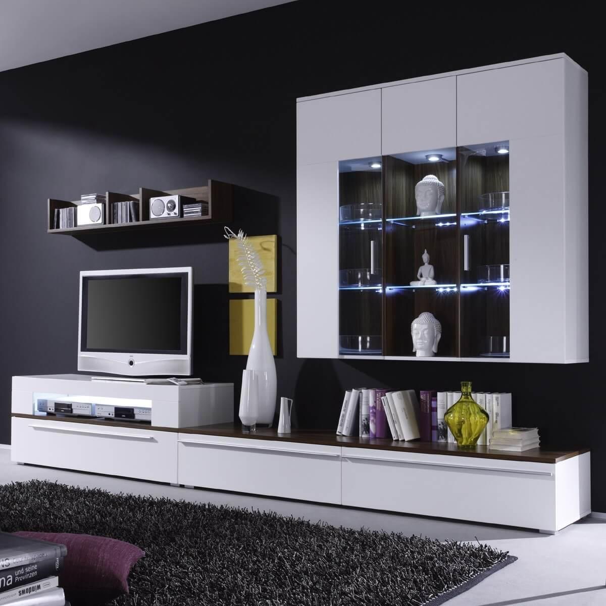 wohnwand ricky 2 in wei und walnuss. Black Bedroom Furniture Sets. Home Design Ideas