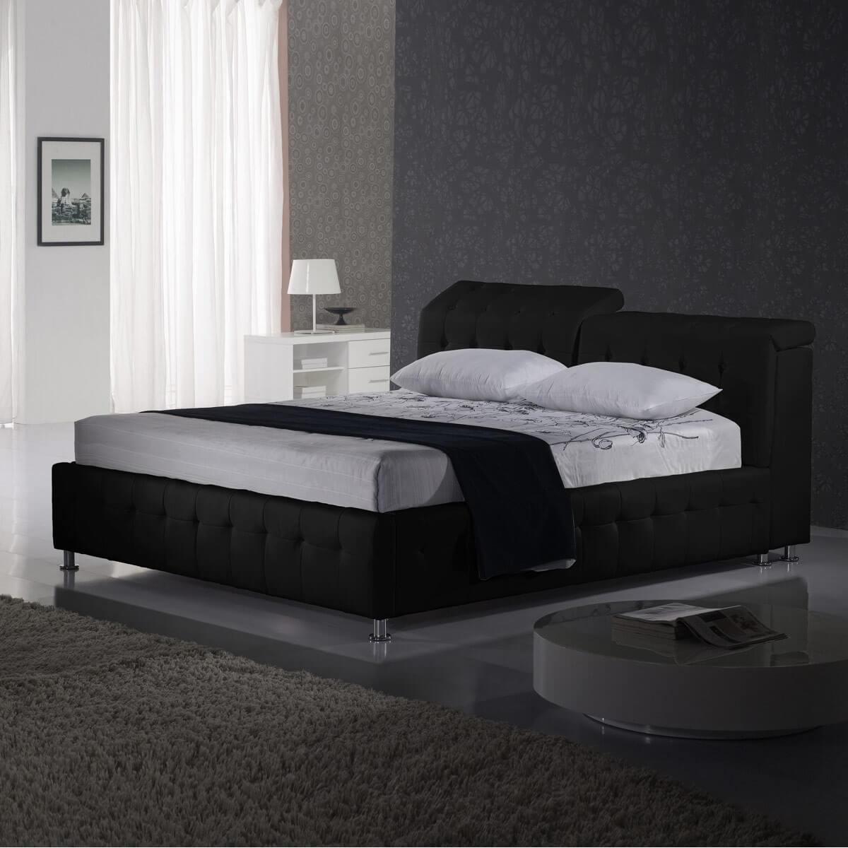 polsterbett test nd 180x200 kunstleder schwarz. Black Bedroom Furniture Sets. Home Design Ideas
