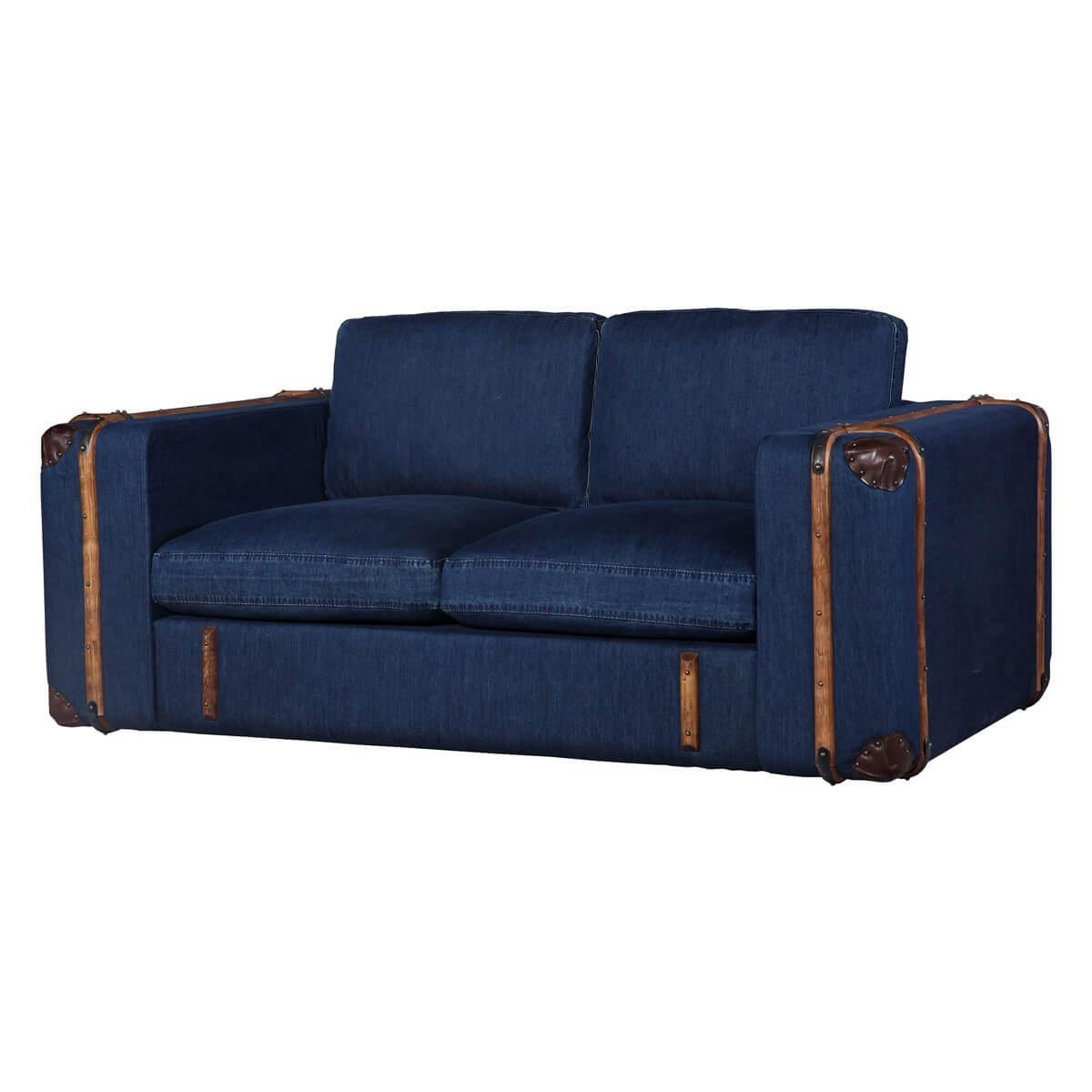 sofa grena 2 sitzer in jeansstoff blau. Black Bedroom Furniture Sets. Home Design Ideas