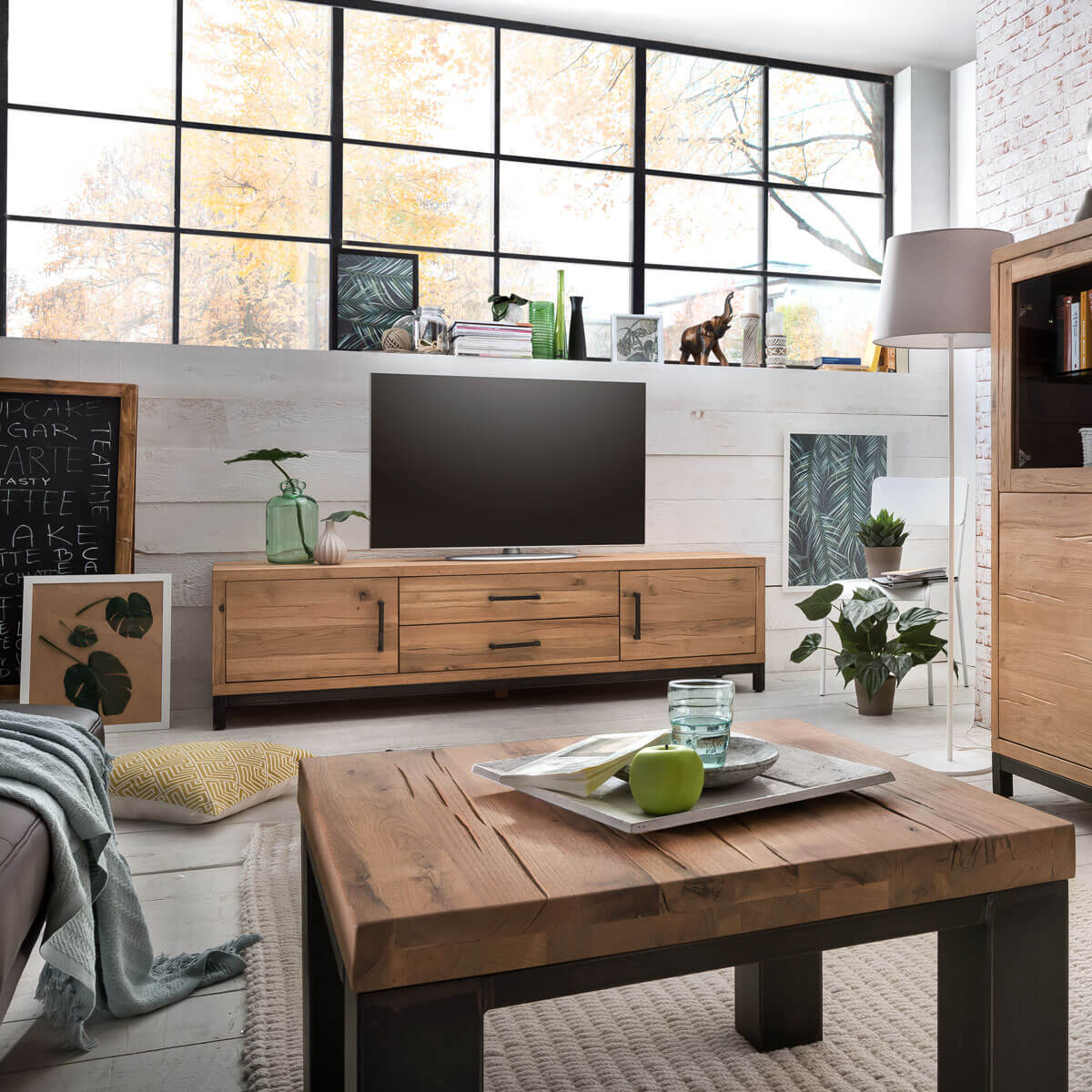 tv lowboard bestano 200 x 50 x 55 cm eiche massivholz. Black Bedroom Furniture Sets. Home Design Ideas