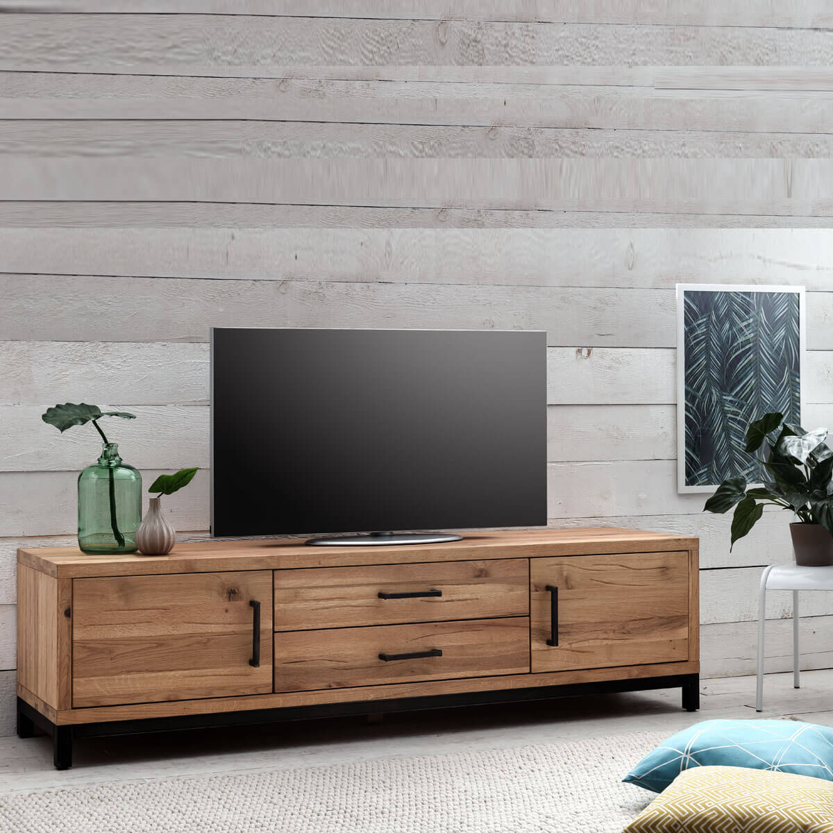 tv lowboard bestano 200 x 50 x 55 cm eiche massivholz. Black Bedroom Furniture Sets. Home Design Ideas