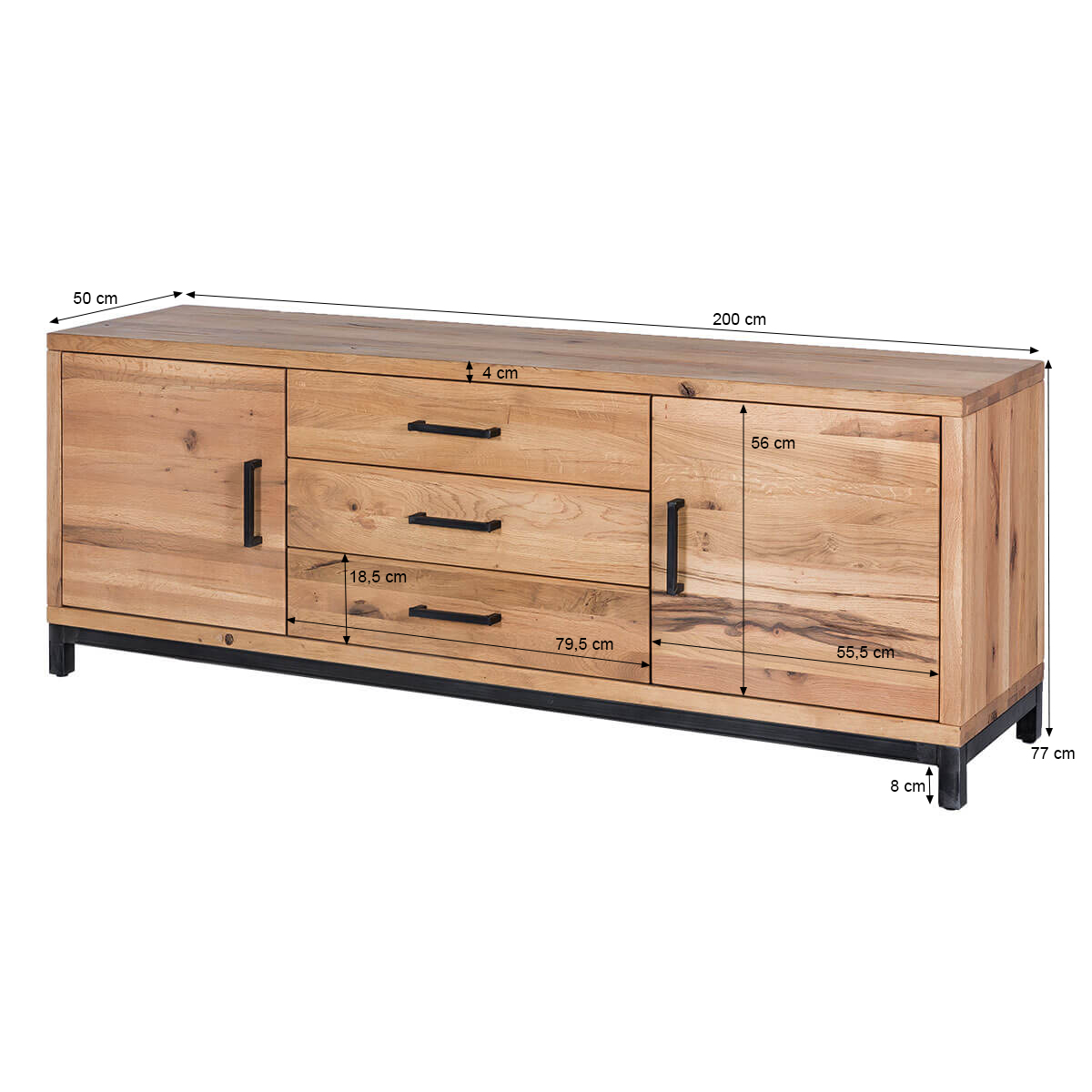 sideboard bestano 200 x 50 x 77 cm eiche massivholz. Black Bedroom Furniture Sets. Home Design Ideas