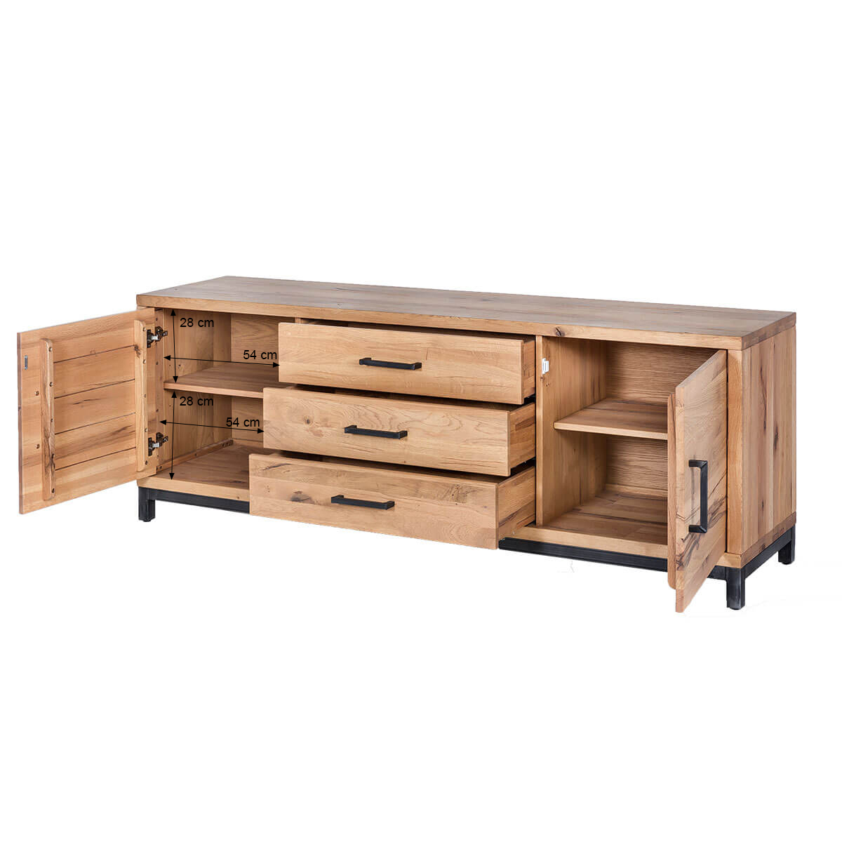 sideboard eiche massiv 200 cm kommode wildeiche schrank massivholz balkeneiche ebay. Black Bedroom Furniture Sets. Home Design Ideas