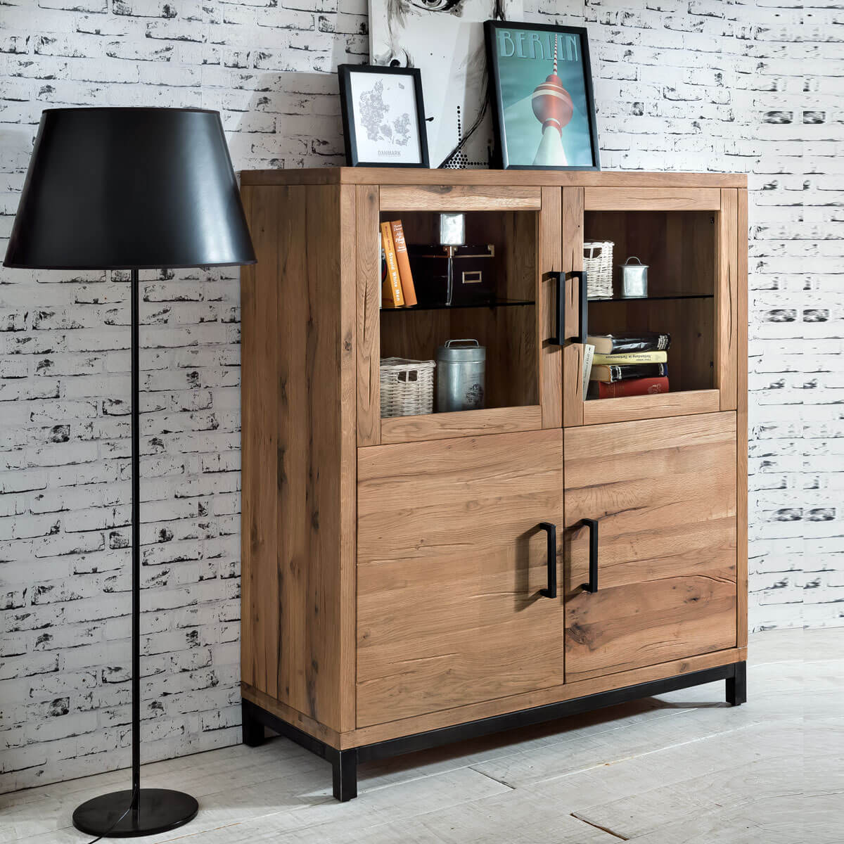highboard bestano 120 x 50 x 145 cm kommode eiche massiv wildeiche massivholz ebay. Black Bedroom Furniture Sets. Home Design Ideas