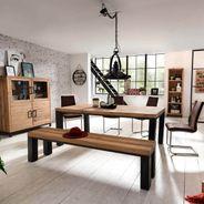 Highboard BESTANO 120 x 50 x 145 cm Eiche Massivholz – Bild 7