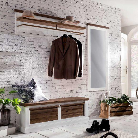 Sitzbank 2 Loft in Akazie massiv Weiß / Braun – Bild 3