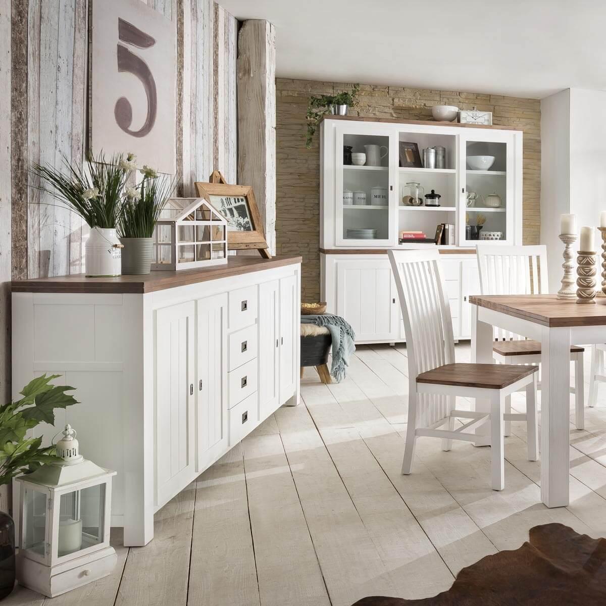 sideboard lyron in akazie massiv wei braun 210 cm. Black Bedroom Furniture Sets. Home Design Ideas