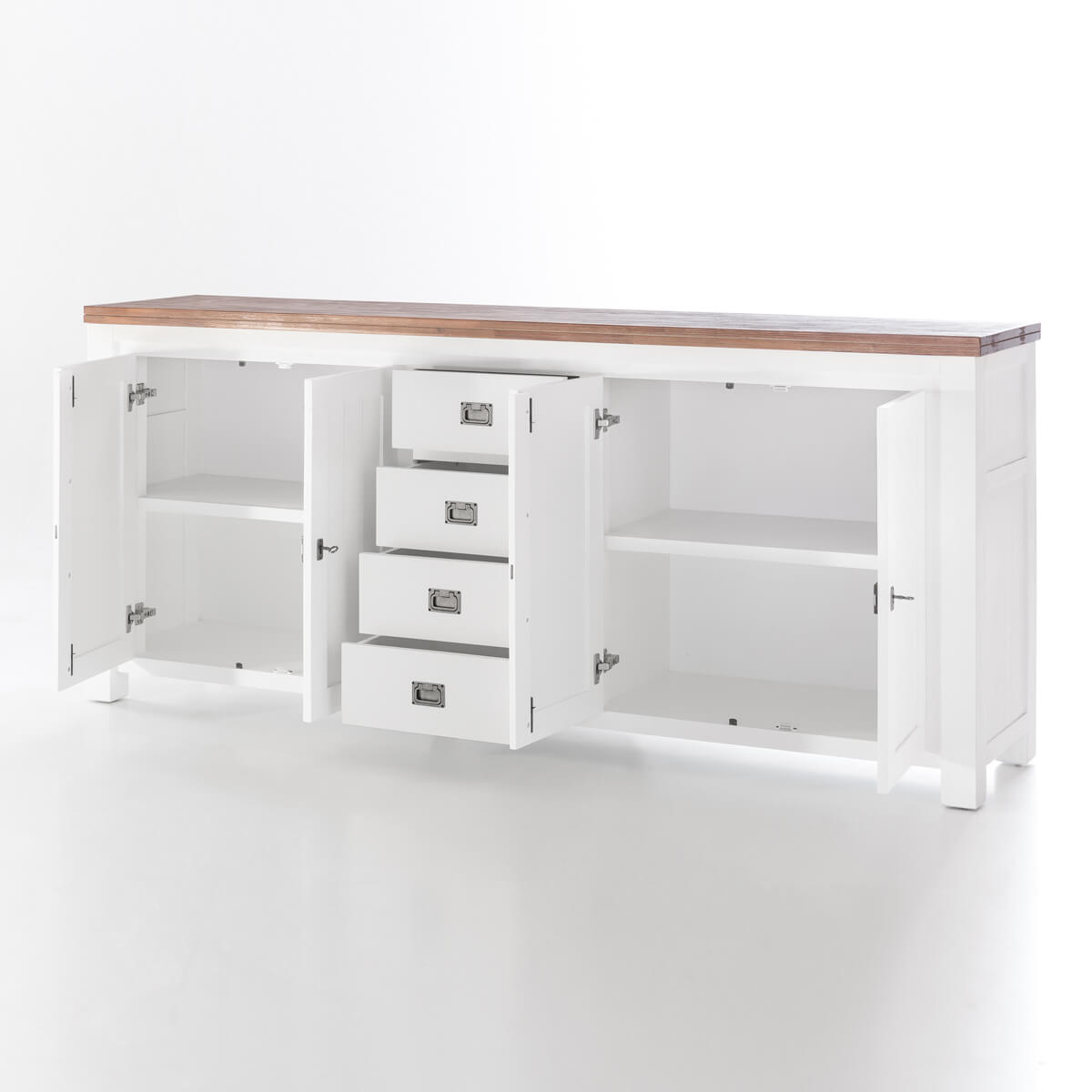 sideboard in akazie massiv kommode wei braun massivholz 210 cm neu ebay. Black Bedroom Furniture Sets. Home Design Ideas