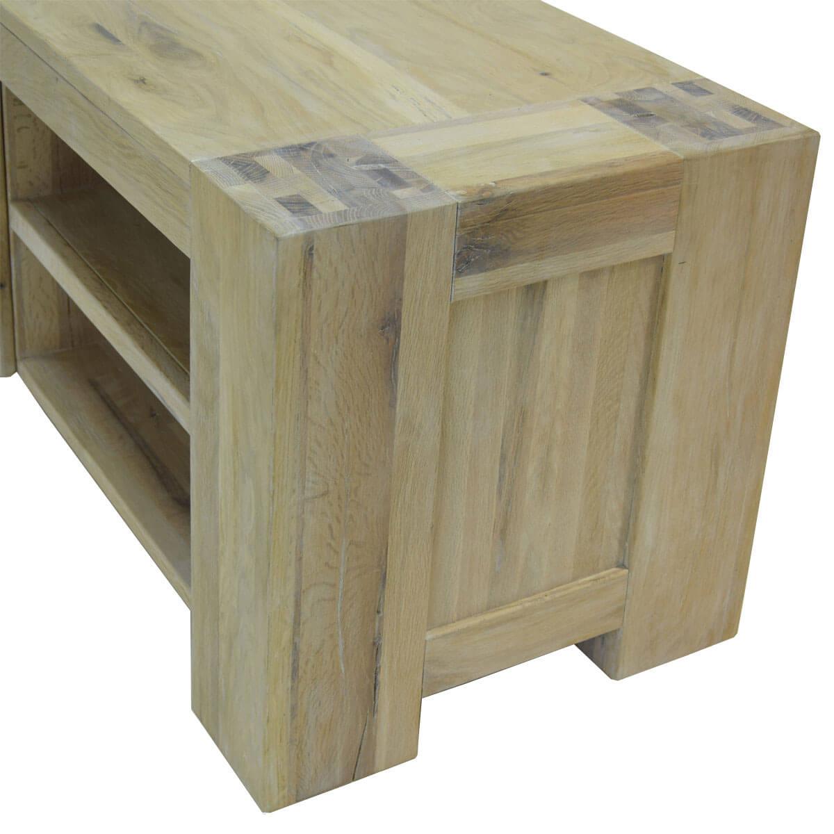 tv lowboard eiche massiv 130 wei ge lt schrank. Black Bedroom Furniture Sets. Home Design Ideas