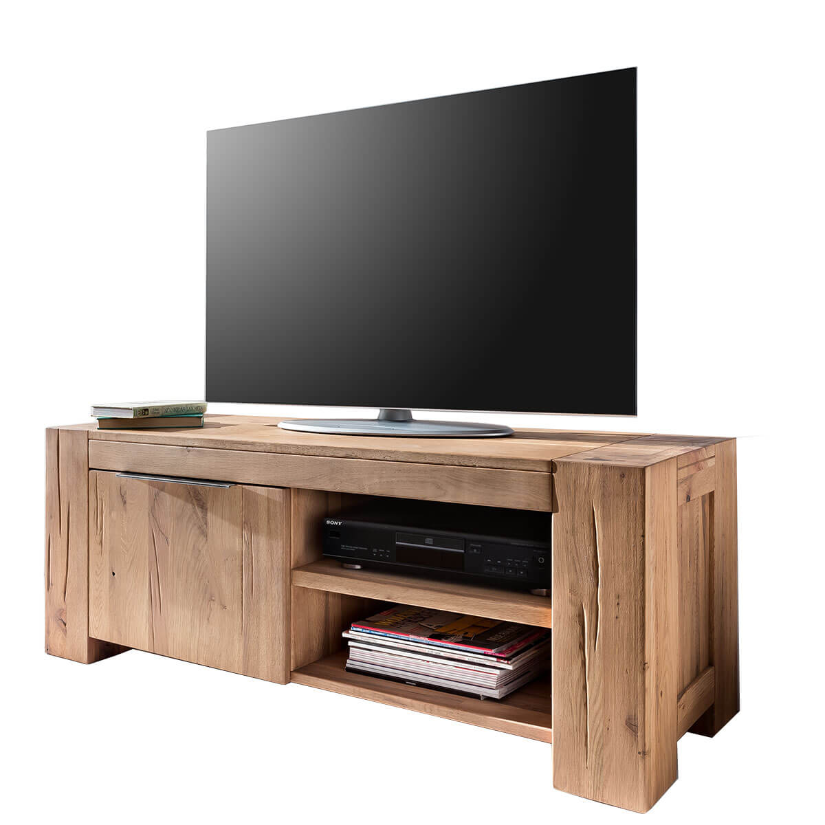 tv lowboard 130cm tv schrank eiche natur ge lt. Black Bedroom Furniture Sets. Home Design Ideas