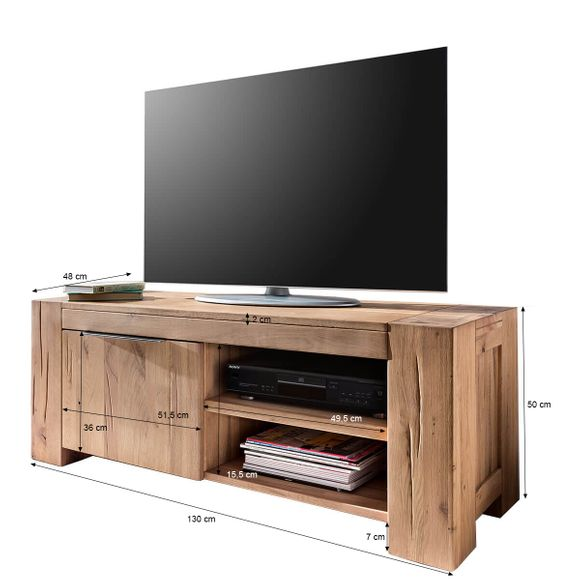 TV Lowboard Granby in Eiche Natur geölt 130 cm – Bild 6