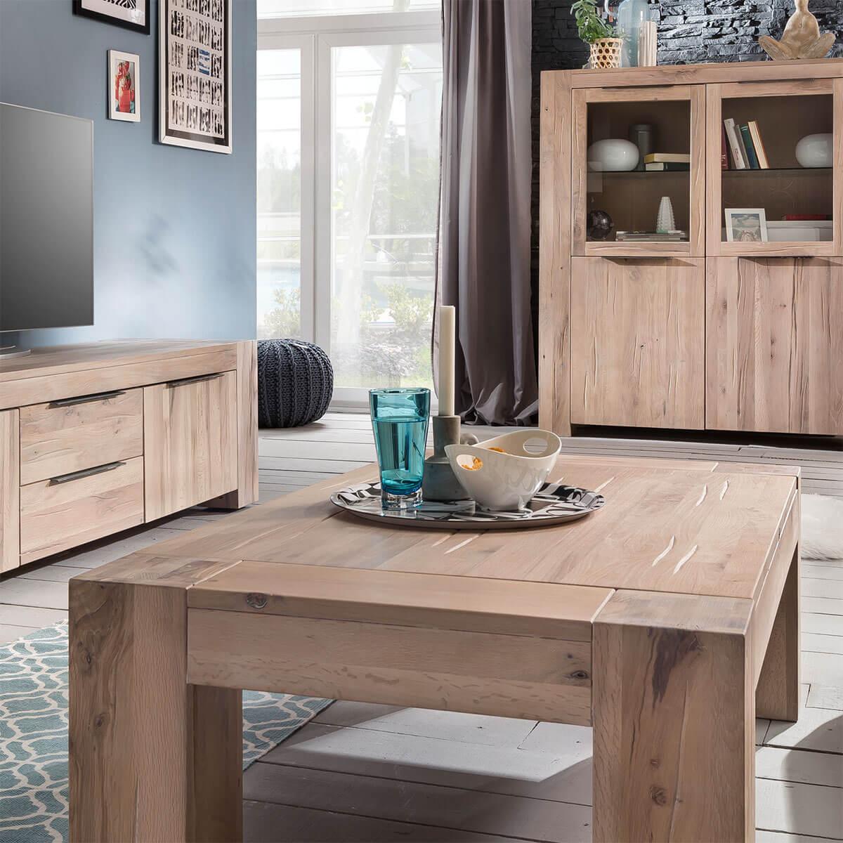 couchtisch eiche massiv 140 x 70 in eiche white wash balkeneiche wohnzimmertisch ebay. Black Bedroom Furniture Sets. Home Design Ideas