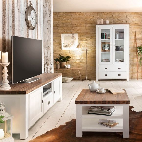couchtisch weiss braun landhaus beistelltisch massivholz 65x65x45 akazie massiv ebay. Black Bedroom Furniture Sets. Home Design Ideas