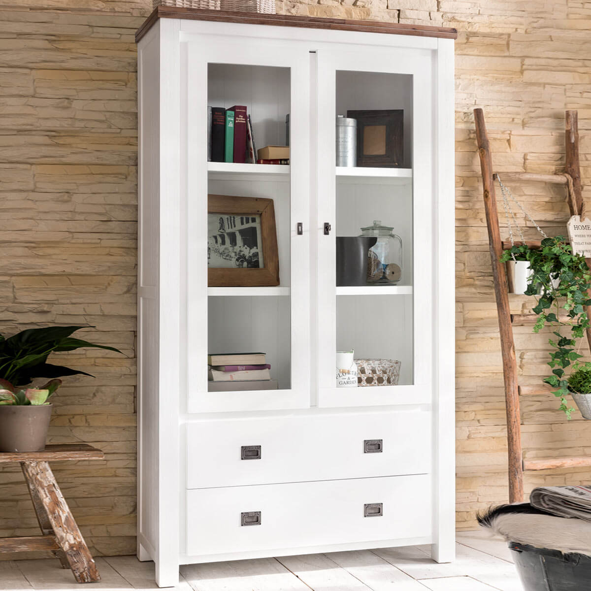 vitrinenschrank weiss braun vitrine k chenschrank vintage glast r holz landhaus ebay. Black Bedroom Furniture Sets. Home Design Ideas