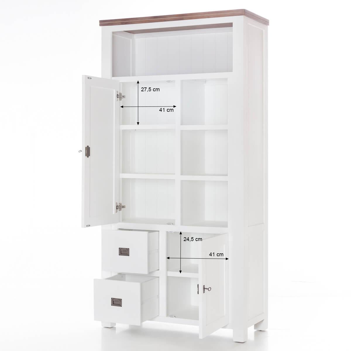 highboard weiss braun landhaus massiv 100 x 200 cm kommode. Black Bedroom Furniture Sets. Home Design Ideas