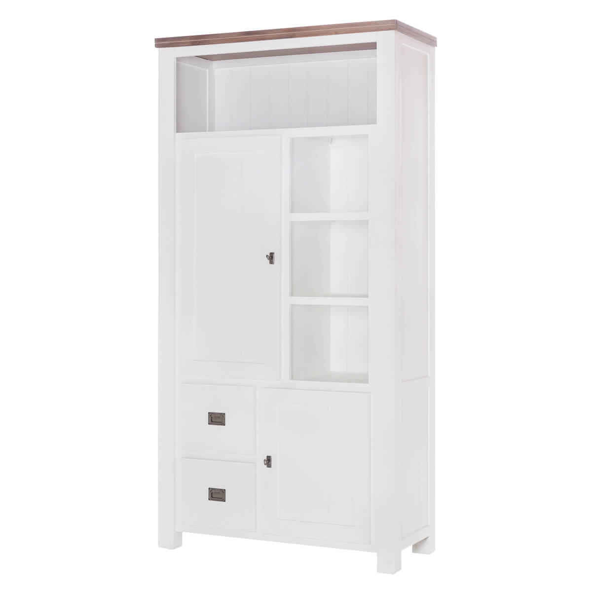 Highboard Lyron in Akazie massiv Weiß / Braun 100 cm