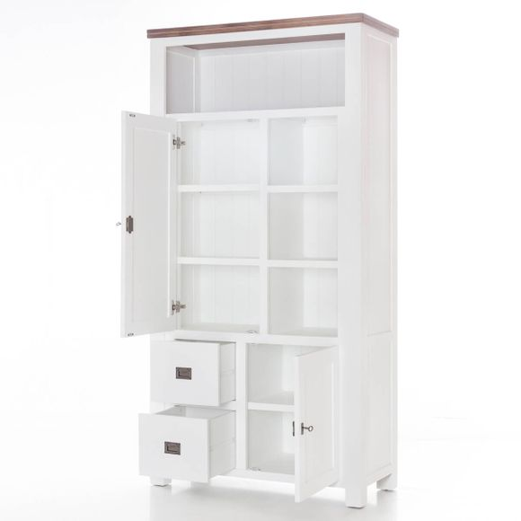 Highboard Lyron in Akazie massiv Weiß / Braun 100 cm – Bild 5