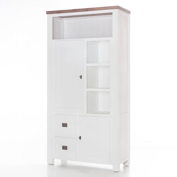 Highboard Lyron in Akazie massiv Weiß / Braun 100 cm – Bild 6