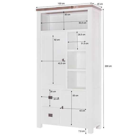 Highboard Lyron in Akazie massiv Weiß / Braun 100 cm – Bild 8