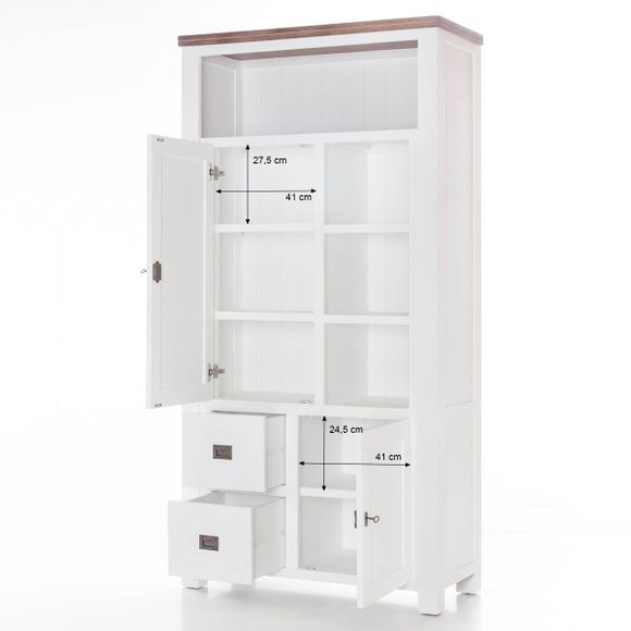 Highboard Lyron in Akazie massiv Weiß / Braun 100 cm – Bild 9